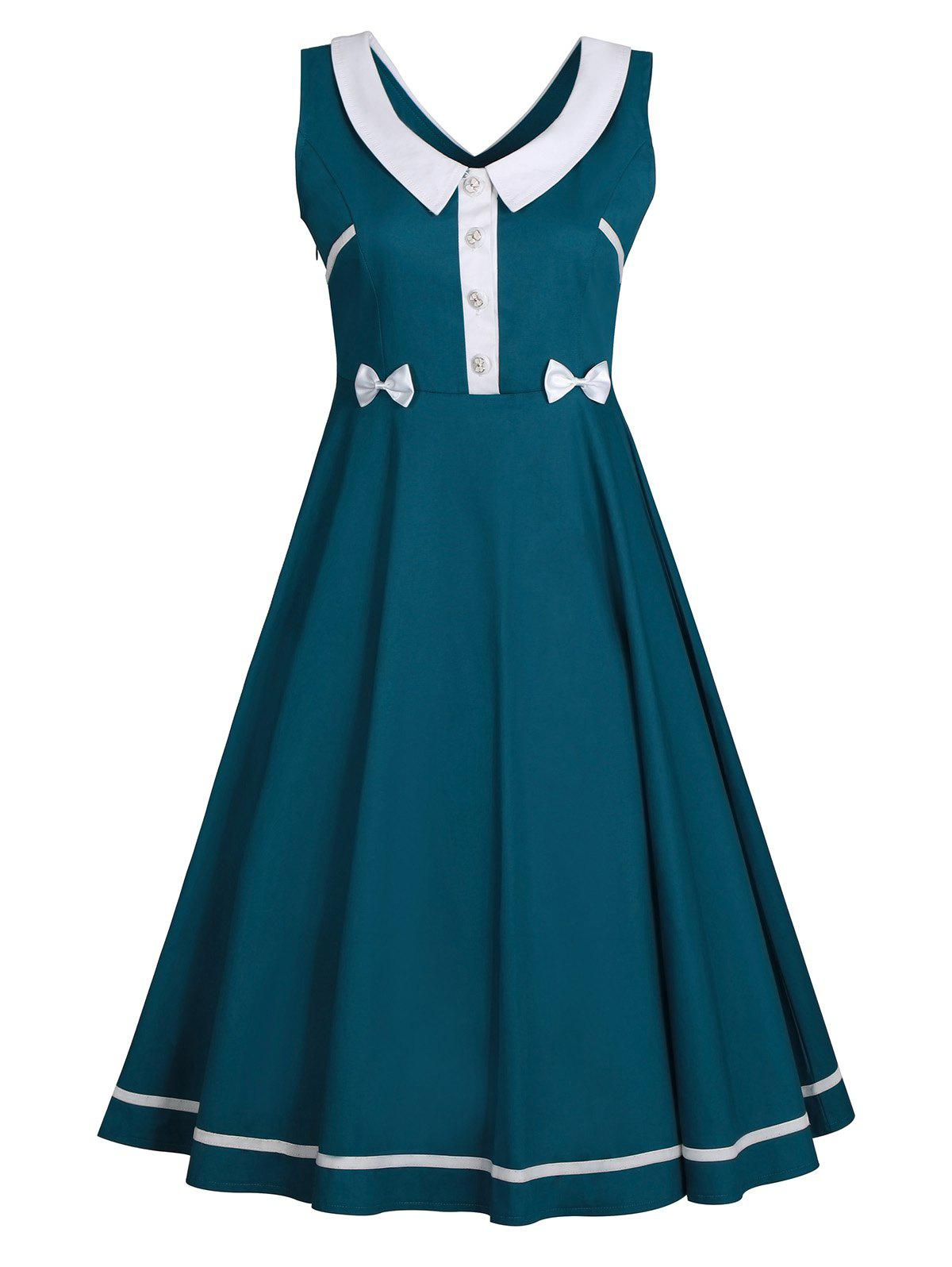 Sleeveless Plus Size  Flat Collar Vintage DressWOMEN<br><br>Size: 3XL; Color: BLACKISH GREEN; Style: Vintage; Material: Cotton Blend,Polyester; Silhouette: Ball Gown; Dresses Length: Mid-Calf; Neckline: Flat Collar; Sleeve Length: Sleeveless; Waist: High Waisted; Embellishment: Bowknot,Button,Vintage; Pattern Type: Others; With Belt: No; Season: Spring,Summer; Weight: 0.3900kg; Package Contents: 1 x Dress;