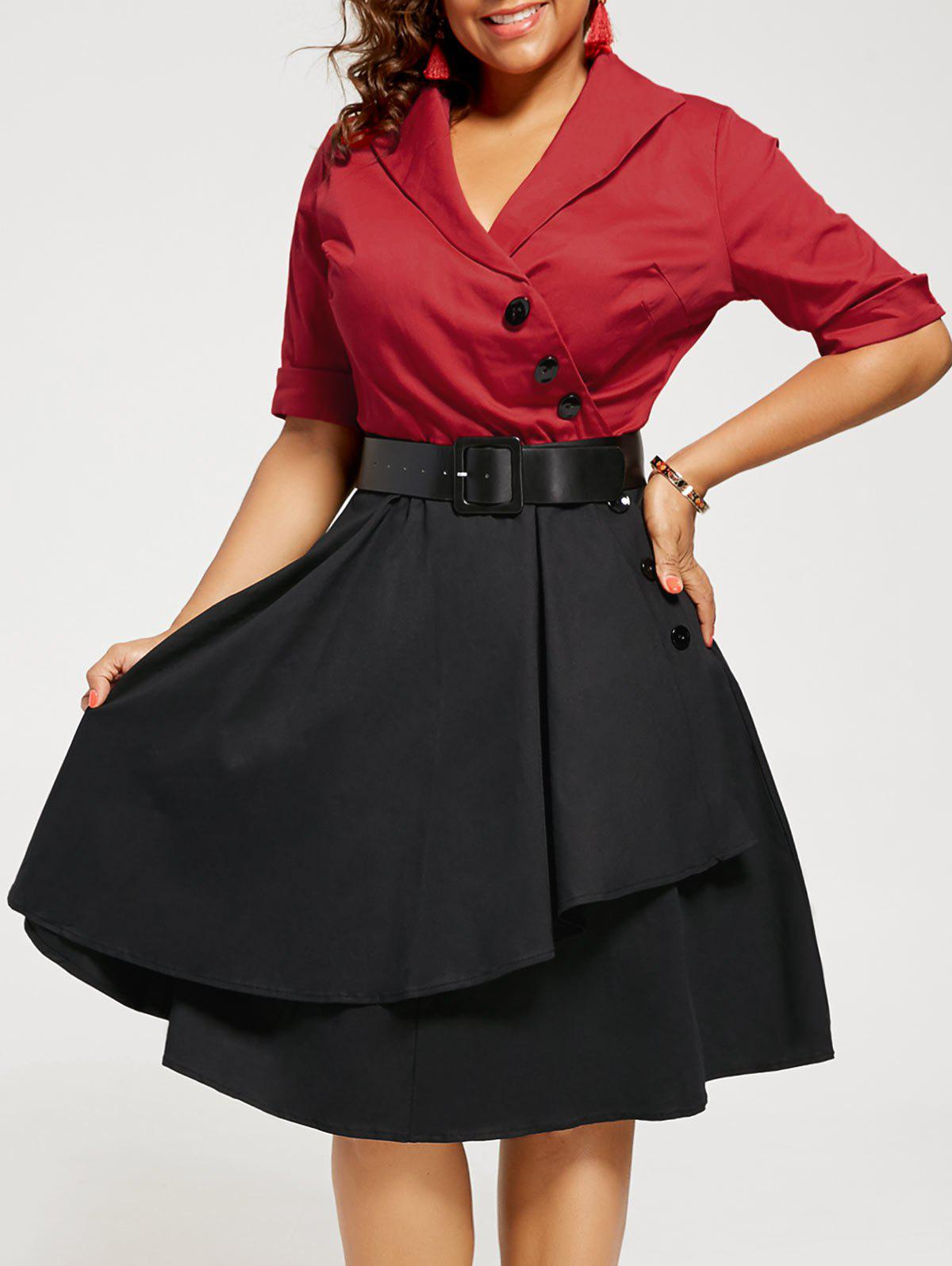 Plus Size Two Tone A Line Vintage DressWOMEN<br><br>Size: 4XL; Color: RED; Style: Vintage; Material: Polyester; Silhouette: A-Line; Dresses Length: Mid-Calf; Neckline: V-Neck; Sleeve Length: Half Sleeves; Pattern Type: Others; With Belt: Yes; Season: Fall,Summer; Weight: 0.5200kg; Package Contents: 1 x Dress  1 x Belt;