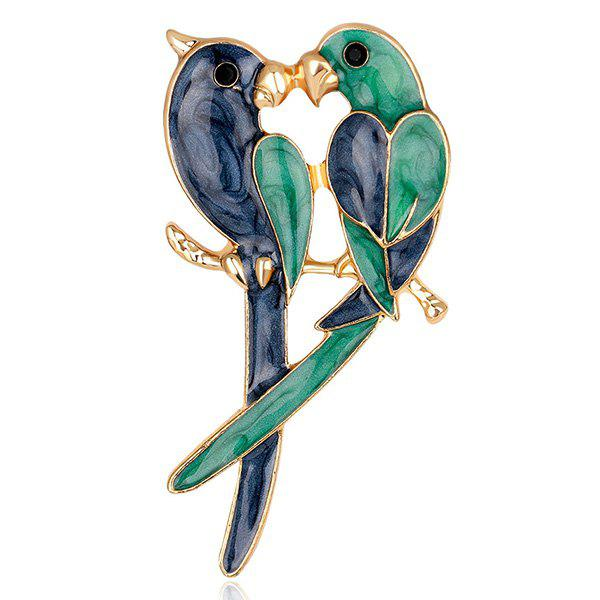Parrots Lover Design Plating BroochJEWELRY<br><br>Color: GREEN; Brooch Type: Brooch; Gender: For Women; Style: Trendy; Shape/Pattern: Animal; Length: 6.1CM; Weight: 0.0350kg; Package Contents: 1 x Brooch;
