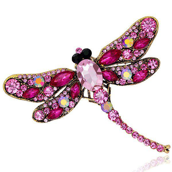 Faux Gem Inlaid Dragonfly Design Vintage BroochJEWELRY<br><br>Color: TUTTI FRUTTI; Brooch Type: Brooch; Gender: For Women; Style: Trendy; Shape/Pattern: Animal; Length: 7.5 x 9.1CM; Weight: 0.0500kg; Package Contents: 1 x Brooch;