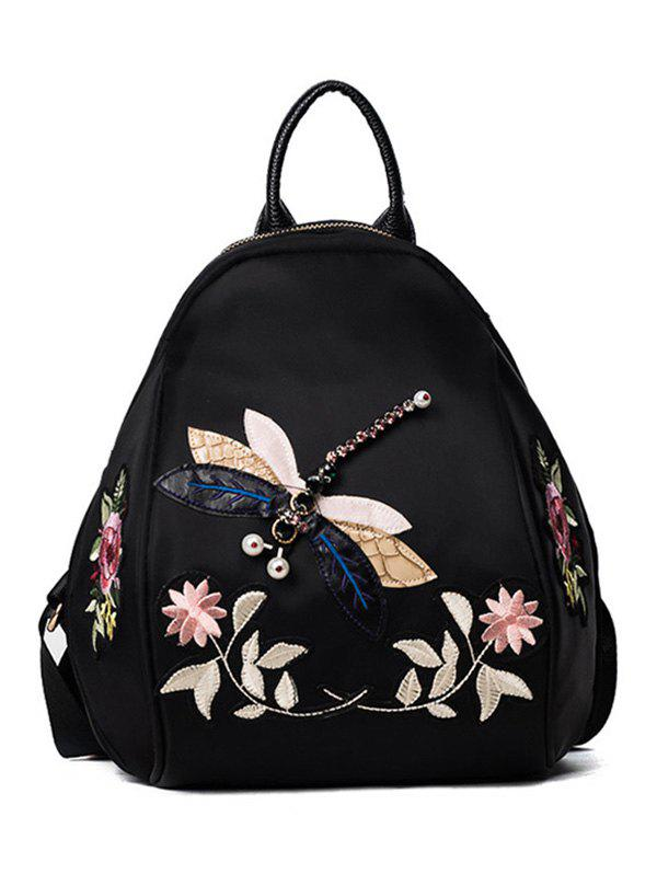Flower Patches and Dragonfly BackapckSHOES &amp; BAGS<br><br>Color: BLACK; Handbag Type: Backpack; Style: Fashion; Gender: For Women; Embellishment: Appliques; Pattern Type: Solid; Handbag Size: Small(20-30cm); Closure Type: Zipper; Occasion: Casual; Main Material: Nylon; Weight: 1.2000kg; Size(CM)(L*W*H): 19*10*27; Package Contents: 1 x Backpack;