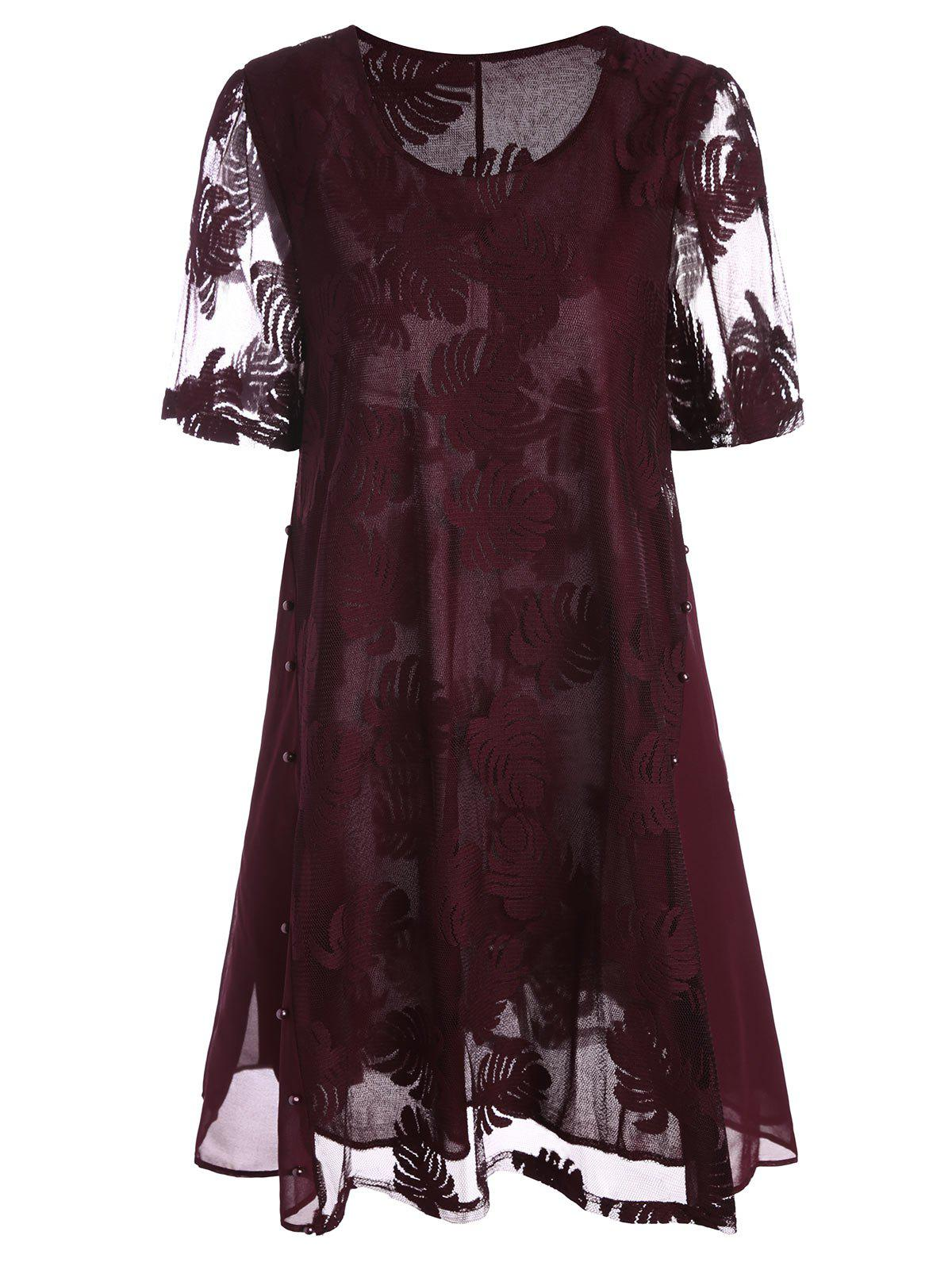 Mesh Trim Beaded  Long Plus SizeTopWOMEN<br><br>Size: 5XL; Color: WINE RED; Material: Polyester; Shirt Length: Long; Sleeve Length: Short; Collar: Round Neck; Style: Fashion; Season: Summer; Pattern Type: Solid; Weight: 0.2600kg; Package Contents: 1 x Top;