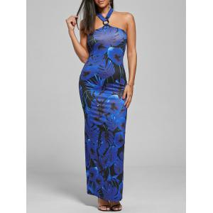 Long Print Halter Bodycon Prom Dress