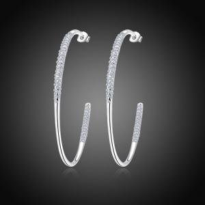 Rhinestone Alloy Hoop Earrings