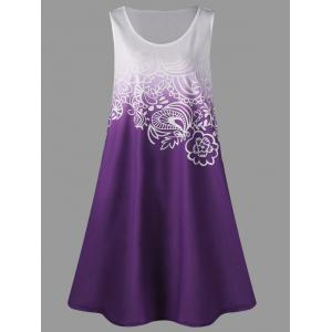 A Line Tunic Plus Size Gradient Color Tank Dress - Purple - 3xl