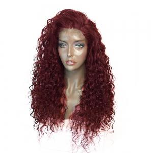 Fluffy Curly Long Lace Frontal Synthetic Wig - Wine Red - 14inch