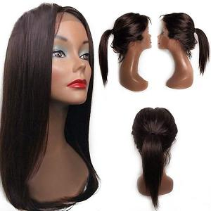 Free Part Tail Adduction Long Straight Lace Front Synthetic Wig - Deep Brown