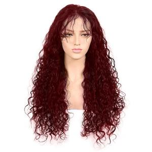 Free Part Long Kinky Curly Lace Front Synthetic Wig - Wine Red