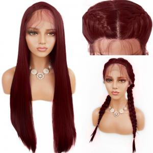 Free Part Long Straight Lace Front Synthetic Wig - Wine Red