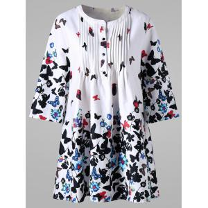 Plus Size Pintuck Butterfly Print Smock Blouse