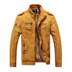 Zip Up Pockets Epaulet Fleece PU Leather Jacket