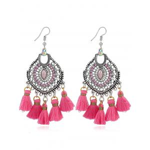 Dreamcatcher Shape Tassel Pendant Hook Earrings