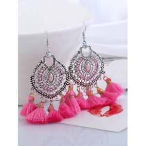 Dreamcatcher Shape Tassel Pendant Hook Earrings -