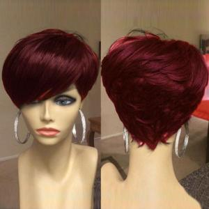 Short Oblique Bang Shaggy Layered Straight Synthetic Wig - Wine Red