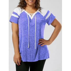 Plus Size Lace Up Raglan Sleeve Top - Blue And White - 2xl