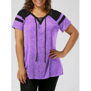 Plus Size Lace Up Raglan Sleeve Top - Black And Purple - 5xl