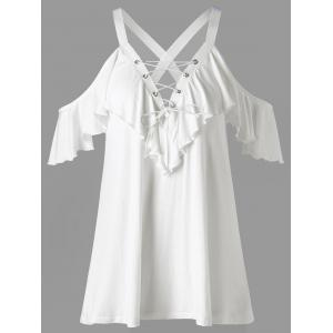 Frill Cold Shoulder Lace Up T-shirt - White - L