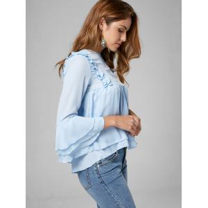 Flare Sleeve Tiered Chiffon Ruffle Blouse - LIGHT BLUE M