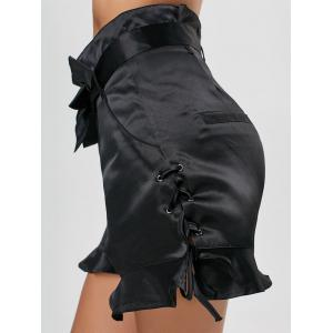 Ruffle Lace-up High Waisted Shorts