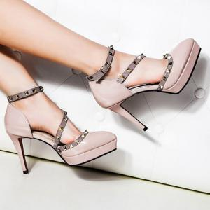 Studded Pointed Toe High Heel Pumps - Nude Pink - 38