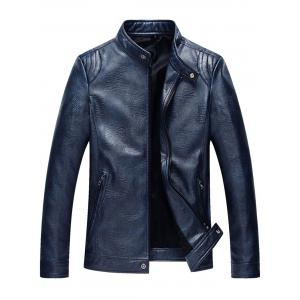 Slim Fit Stand Collar Faux Leather Jacket