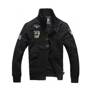 Letter Eagle Embroidery Flap Pocket Jacket - Black - M