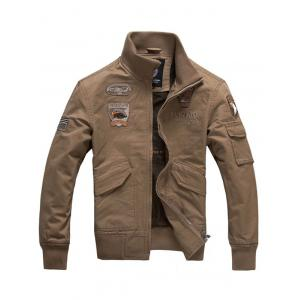 Letter Eagle Embroidery Flap Pocket Jacket