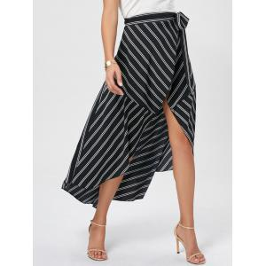 Asymmetrical High Waist Wrap Midi Skirt - Black - Xl