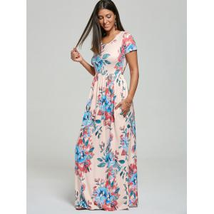Pocket Floor Length Floral Print Dress - PINK M