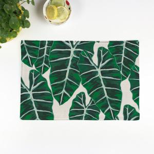 Eco-Friendly Table Decor Leaves Linen Placemat - Green - 28*44cm