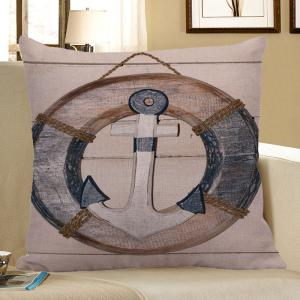 Wood Grain Steering Wheel Anchor Pillow Case - Light Blue - 45*45cm