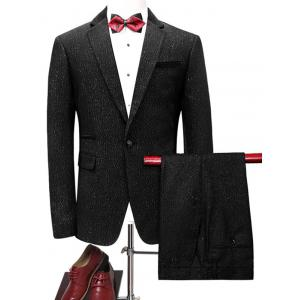 One Button Glittering Blazer Suit