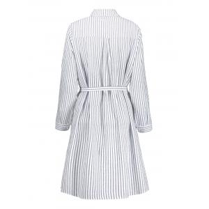 Plus Size Striped Long Sleeve Shirt Dress - BLUE AND WHITE 2XL