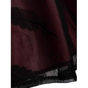 Feather See Thru Mesh Panel Vintage Dress - WINE RED S