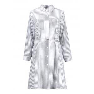 Plus Size Striped Long Sleeve Shirt Dress - Blue And White - 5xl