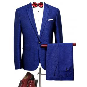 One Button Heathered Blazer Suit