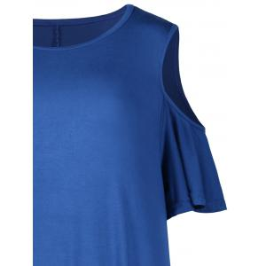 Plus Size Cold Shoulder T Shirt Dress - BLUE 4XL