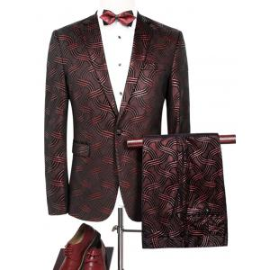 Net Pattern One Button Blazer Suit - Dark Red - L