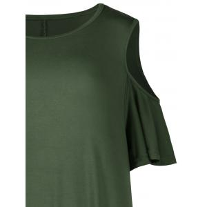 Plus Size Cold Shoulder T Shirt Dress - ARMY GREEN 4XL