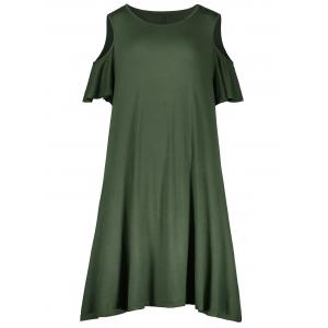 Plus Size Cold Shoulder T Shirt Dress - Army Green - 2xl