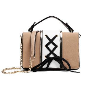 Lace Up Suede Panel Crossbody Bag - Khaki - 38