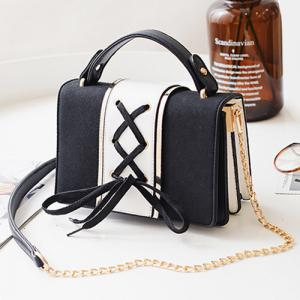 Lace Up Suede Panel Crossbody Bag