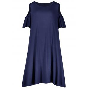 Plus Size Cold Shoulder T Shirt Dress - Purplish Blue - 2xl
