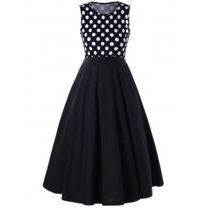 Plus Size A Line Polka Dot Sleeveless Dress