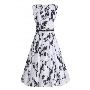 Plus Size Floral Midi Vintage Dress with Belt