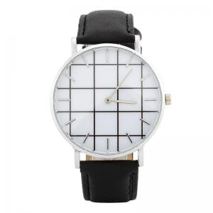 Plaid Face Faux Leather Strap Watch - Black - L