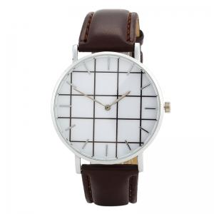 Plaid Face Faux Leather Strap Watch - Brown