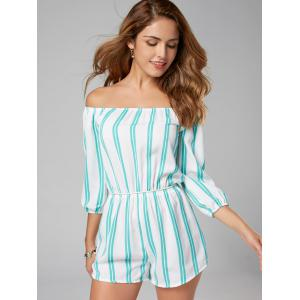 Striped Off The Shoulder Romper - Bande Bleu M