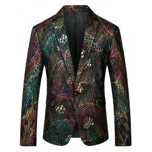 One Button Colorful Scales Pattern Blazer