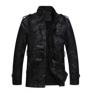Epaulet and Belt Zip Up Fleece PU Leather Coat - Black - 2xl